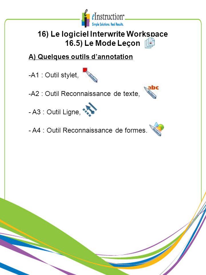 16) Le logiciel Interwrite Workspace 16.5) Le Mode Leçon A) Quelques outils dannotation -A1 : Outil stylet, -A2 : Outil Reconnaissance de texte, - A3
