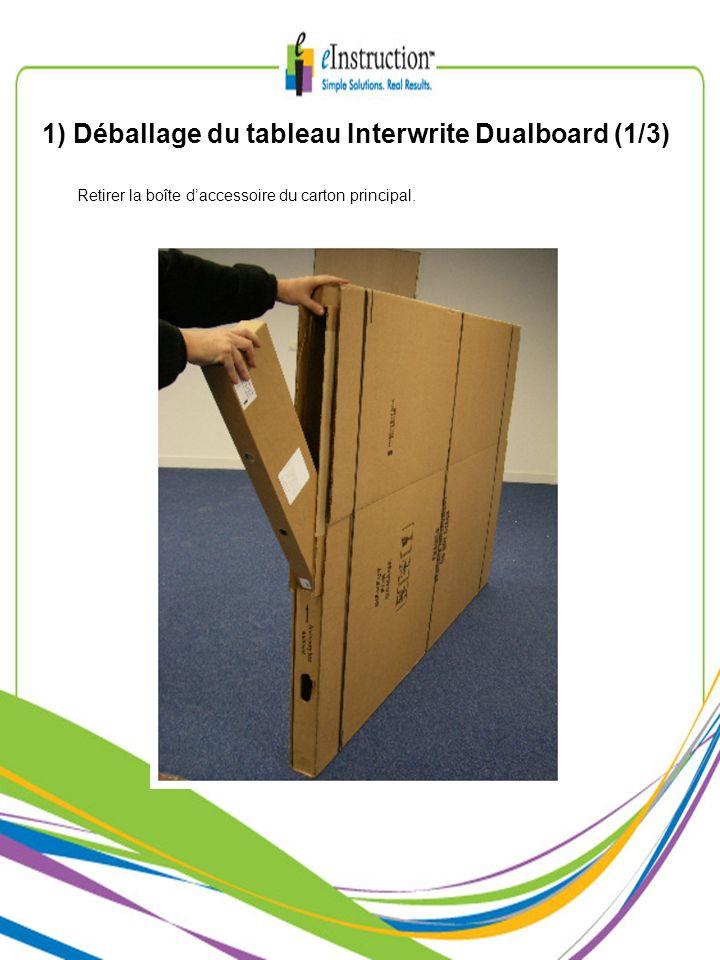 1) Déballage du tableau Interwrite Dualboard (1/3) Retirer la boîte daccessoire du carton principal.