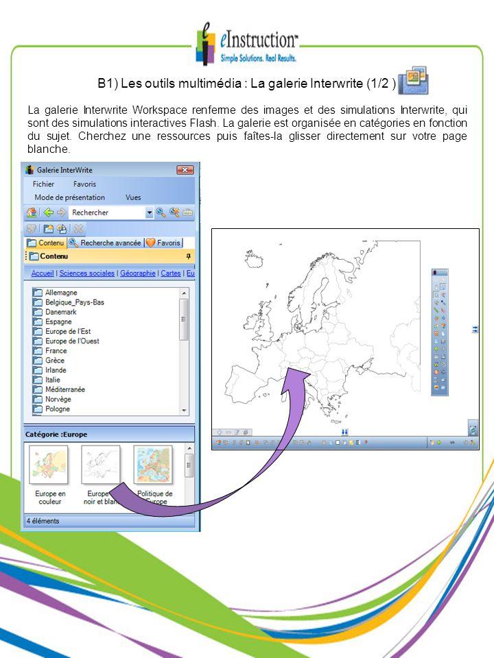 La galerie Interwrite Workspace renferme des images et des simulations Interwrite, qui sont des simulations interactives Flash. La galerie est organis