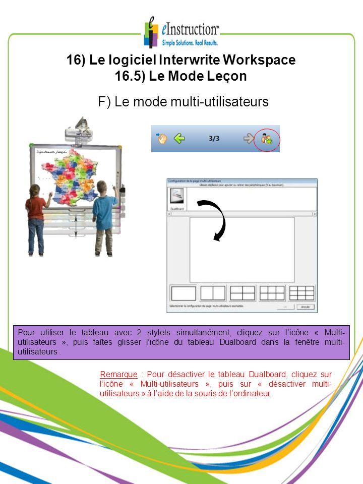 F) Le mode multi-utilisateurs Pour utiliser le tableau avec 2 stylets simultanément, cliquez sur licône « Multi- utilisateurs », puis faîtes glisser l
