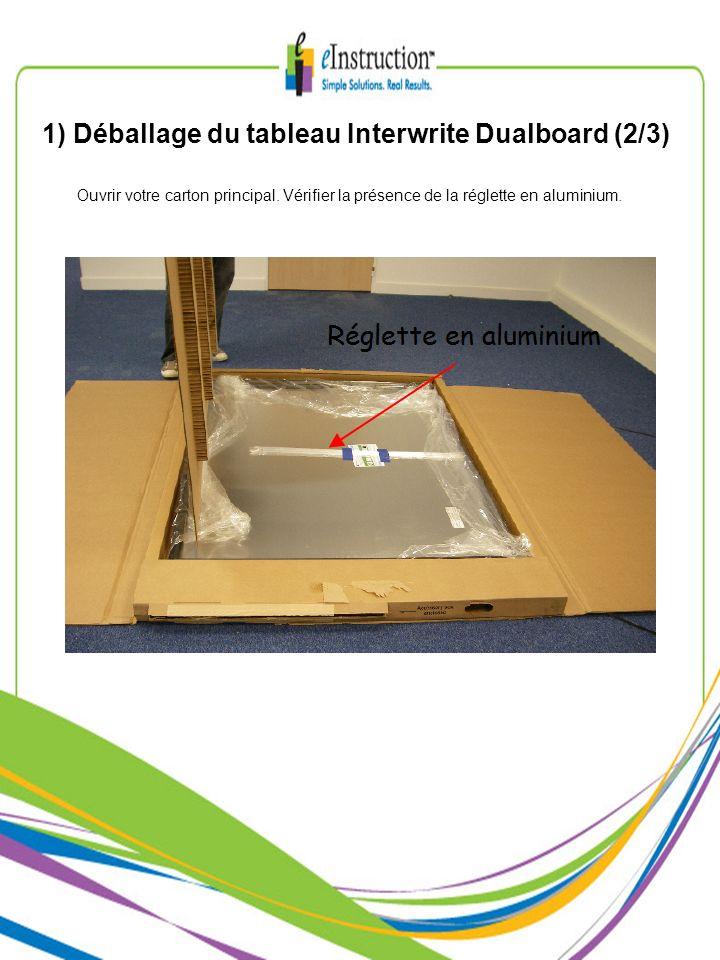 1) Déballage du tableau Interwrite Dualboard (2/3) Ouvrir votre carton principal. Vérifier la présence de la réglette en aluminium.