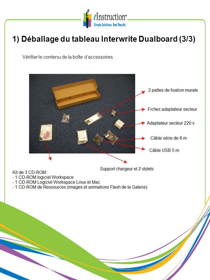 1) Déballage du tableau Interwrite Dualboard (3/3) Vérifier le contenu de la boîte daccessoires :