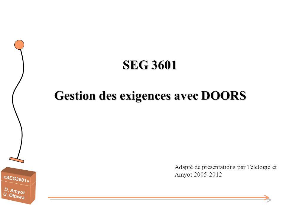 «SEG3601» D. Amyot U. Ottawa SEG 3601 Gestion des exigences avec DOORS Adapté de présentations par Telelogic et Amyot 2005-2012