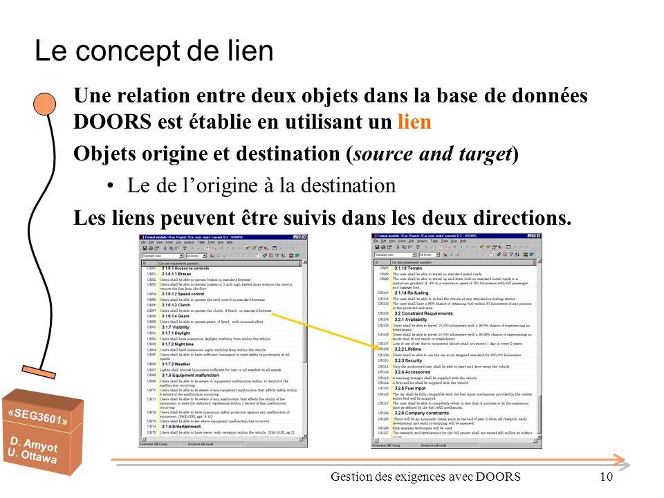 «SEG3601» D. Amyot U. Ottawa Gestion des exigences avec DOORS10 Le concept de lien Une relation entre deux objets dans la base de données DOORS est ét