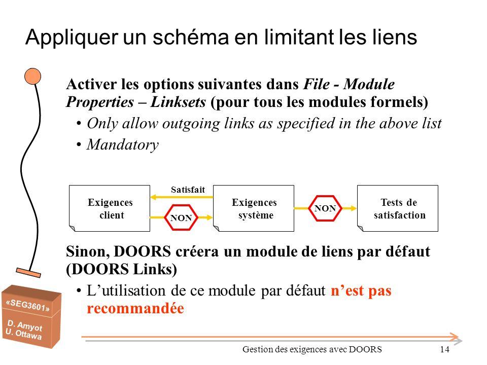 «SEG3601» D. Amyot U. Ottawa Gestion des exigences avec DOORS14 Appliquer un schéma en limitant les liens Activer les options suivantes dans File - Mo