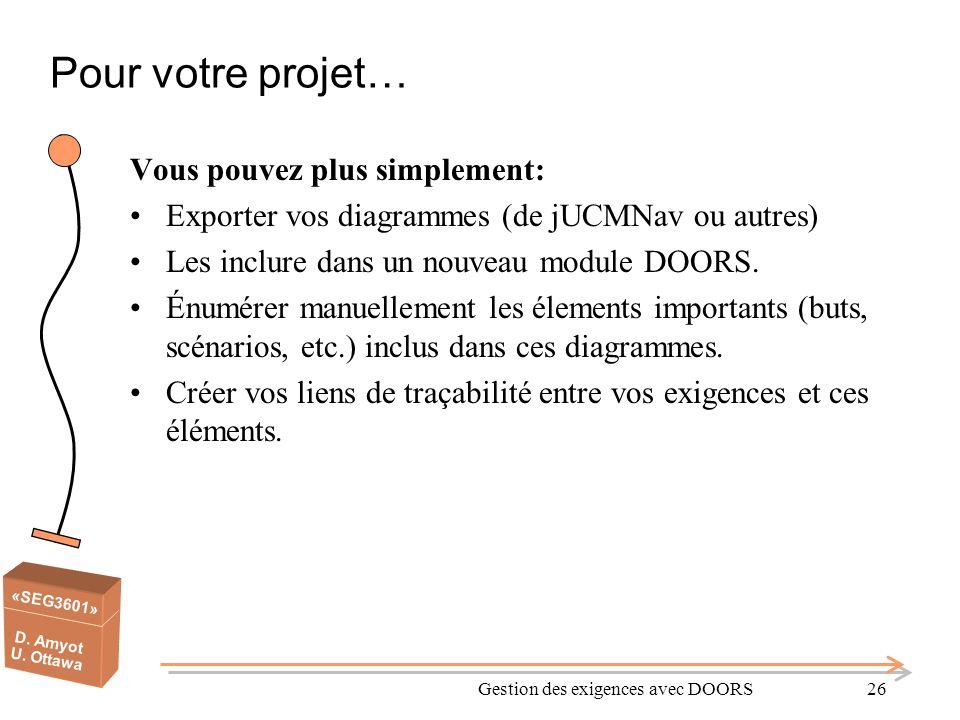 «SEG3601» D. Amyot U. Ottawa Pour votre projet… Vous pouvez plus simplement: Exporter vos diagrammes (de jUCMNav ou autres) Les inclure dans un nouvea