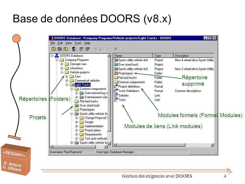 «SEG3601» D. Amyot U. Ottawa Gestion des exigences avec DOORS4 Base de données DOORS (v8.x) Répertoire supprimé Modules de liens (Link modules) Répert