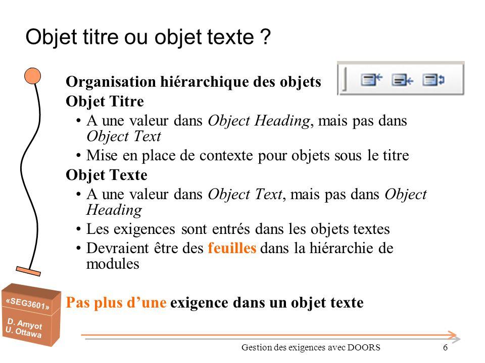 «SEG3601» D. Amyot U. Ottawa Gestion des exigences avec DOORS6 Objet titre ou objet texte ? Organisation hiérarchique des objets Objet Titre A une val