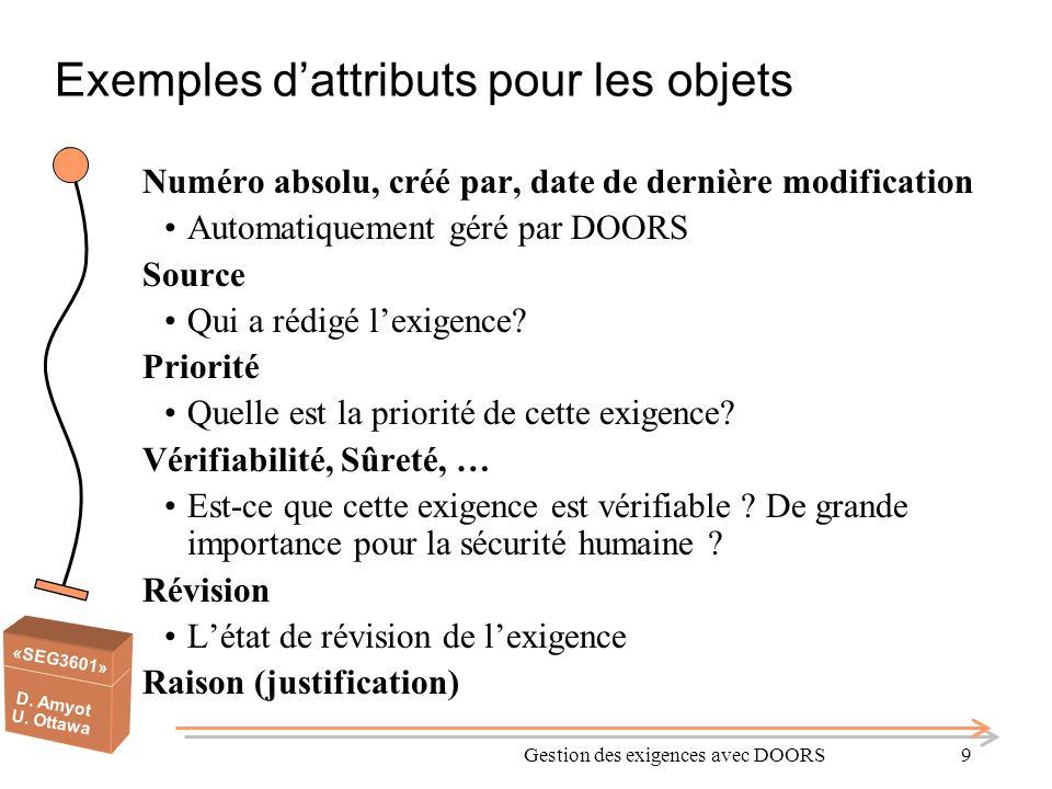 «SEG3601» D. Amyot U. Ottawa Gestion des exigences avec DOORS9 Exemples dattributs pour les objets Numéro absolu, créé par, date de dernière modificat
