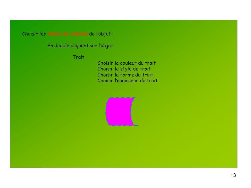 12 Choisir la couleur de remplissage de lobjet : En double cliquant sur lobjet Remplissage couleur Choisir la transparence et son pourcentage En sélec