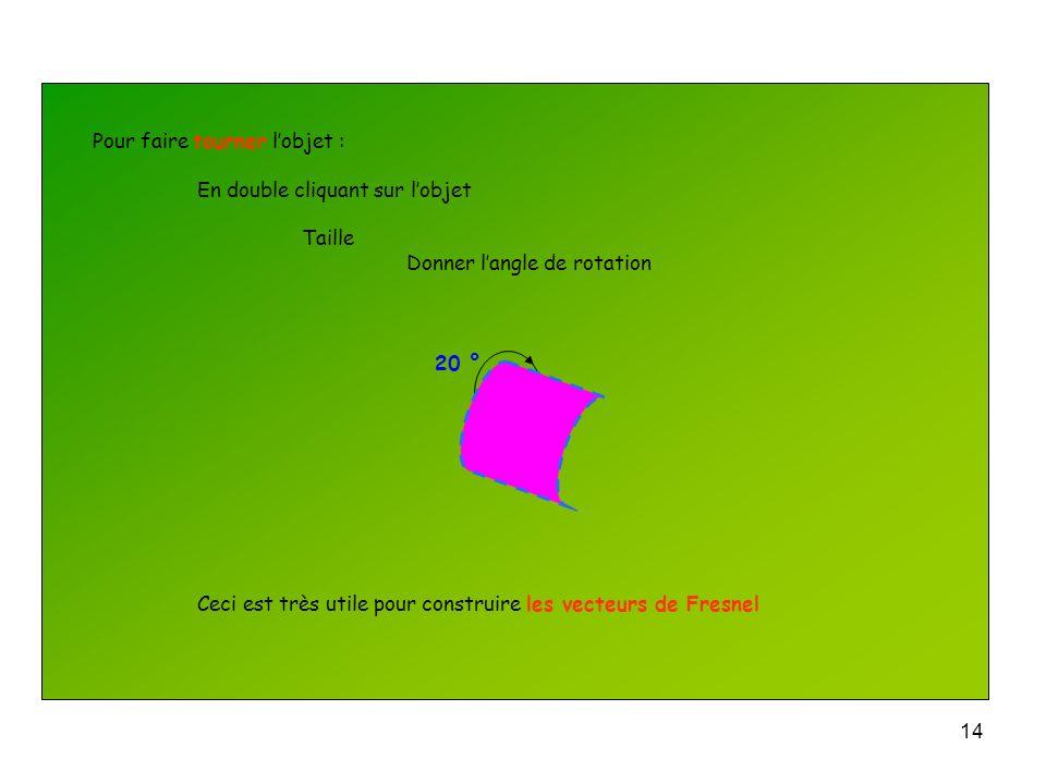13 Choisir les traits du contour de lobjet : En double cliquant sur lobjet Trait Choisir la couleur du trait Choisir le style de trait Choisir la form