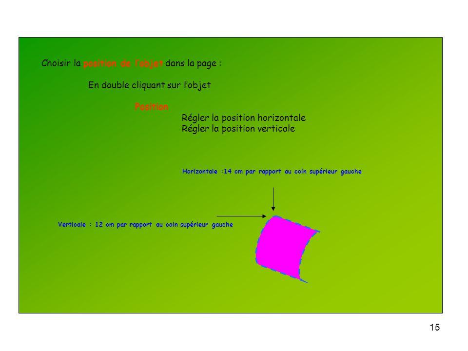 14 Pour faire tourner lobjet : En double cliquant sur lobjet Taille Donner langle de rotation Ceci est très utile pour construire les vecteurs de Fres