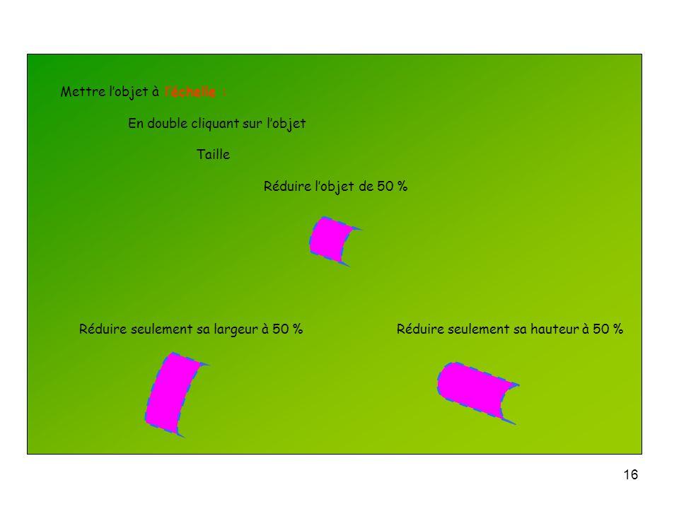 15 Choisir la position de lobjet dans la page : En double cliquant sur lobjet Position Régler la position horizontale Régler la position verticale Ver