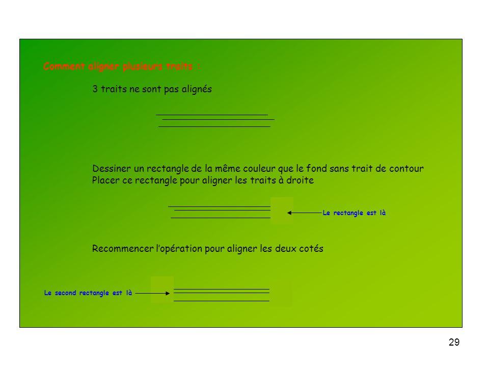 28 Comment tracer un trait droit : En traçant la droite, maintenir la touche Shift enfoncée Si un trait nest pas complètement droit double cliquer des