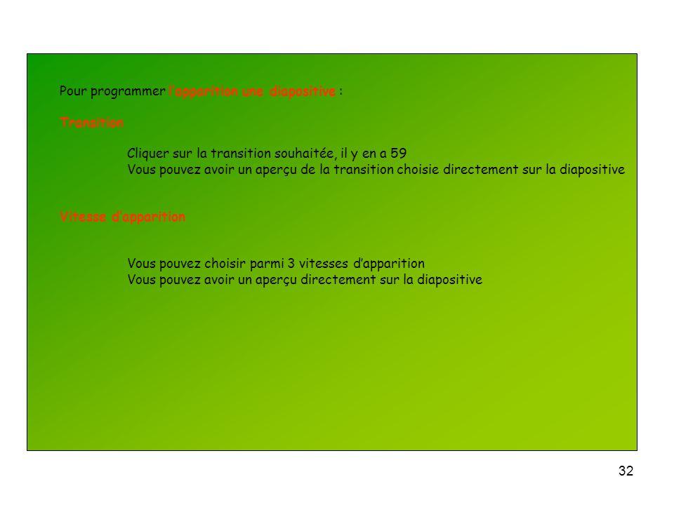 31 Pour programmer lapparition une diapositive : Lorsque vous travaillez sur une diapositive Cliquer sur longlet Diaporama Cliquer sur Transition Sur