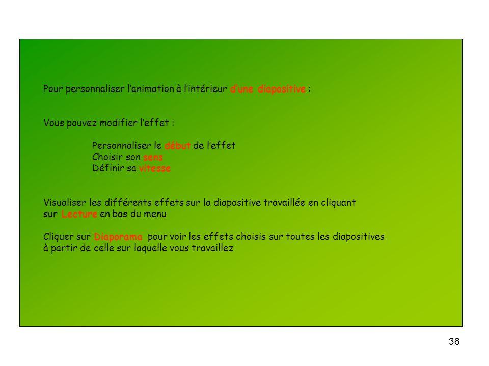 35 Pour personnaliser lanimation à lintérieur dune diapositive : Lorsque vous travaillez sur la diapositive Cliquer sur longlet Diaporama Cliquer sur