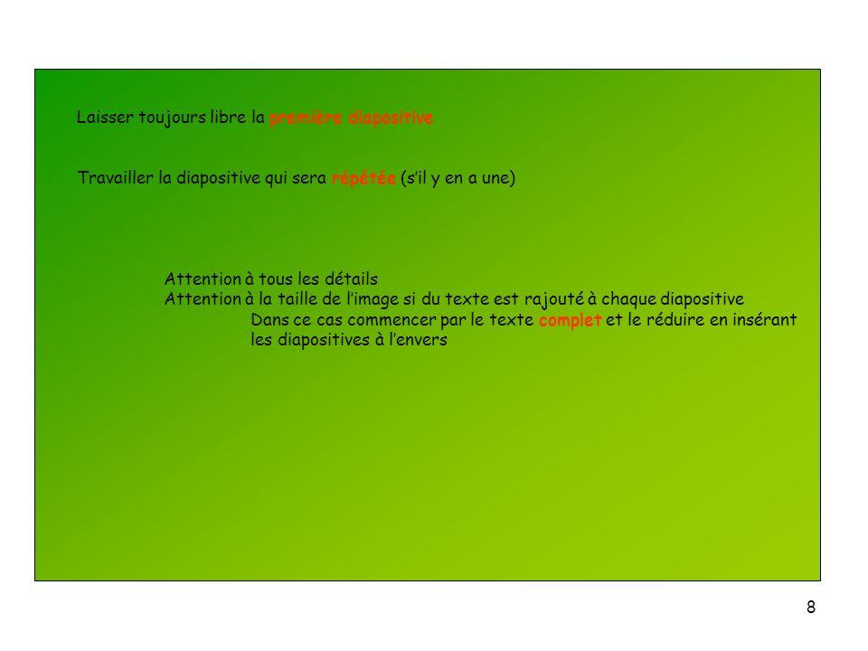 7 Insertion dun diapositive : Se placer juste avant la diapositive à insérer Insertion Nouvelle diapositive Présentation à définir