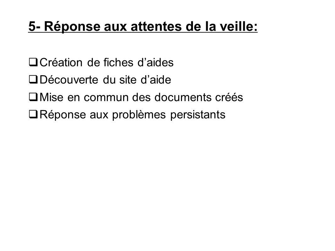 5- Réponse aux attentes de la veille: Création de fiches daides Découverte du site daide Mise en commun des documents créés Réponse aux problèmes pers
