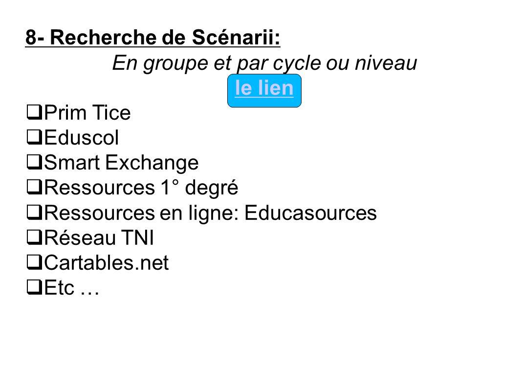 8- Recherche de Scénarii: En groupe et par cycle ou niveau le lien Prim Tice Eduscol Smart Exchange Ressources 1° degré Ressources en ligne: Educasour