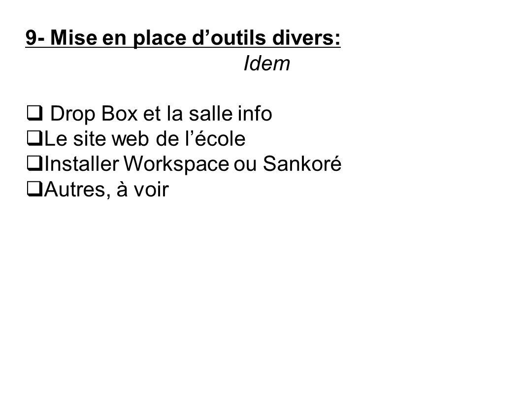 9- Mise en place doutils divers: Idem Drop Box et la salle info Le site web de lécole Installer Workspace ou Sankoré Autres, à voir