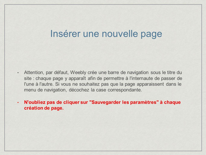 Attention, par défaut, Weebly crée une barre de navigation sous le titre du site : chaque page y apparaît afin de permettre à l internaute de passer de l une à l autre.