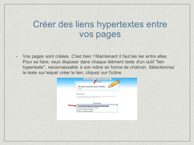 Créer des liens hypertextes entre vos pages Vos pages sont créées.