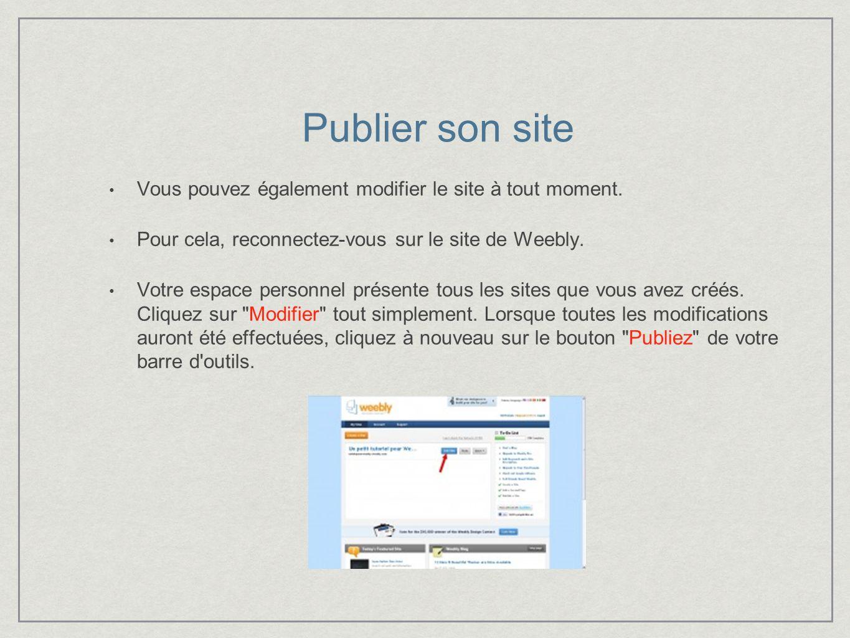 Publier son site Vous pouvez également modifier le site à tout moment.