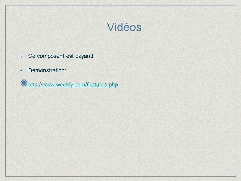 Vidéos Ce composant est payant! Démonstration: http://www.weebly.com/features.php