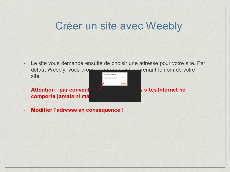 Créer un site avec Weebly Lors de votre première connexion, Weebly vous proposera automatiquement de créer votre tout premier site.
