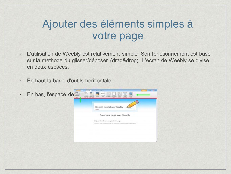 Ajouter des éléments simples à votre page L utilisation de Weebly est relativement simple.