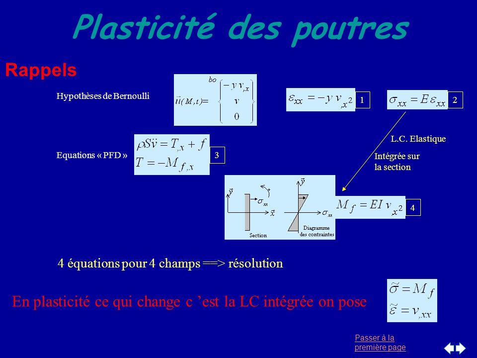 Passer à la première page Plasticité des poutres Rappels Equations « PFD » 3 Hypothèses de Bernoulli 12 4 L.C. Elastique Intégrée sur la section 4 équ