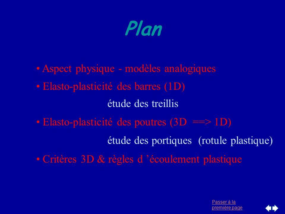 Passer à la première page Plan Aspect physique - modèles analogiques Elasto-plasticité des barres (1D) étude des treillis Elasto-plasticité des poutre