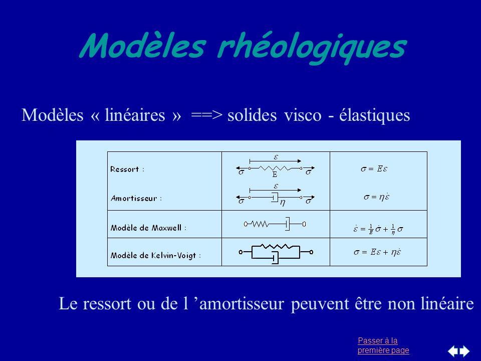Passer à la première page Modèles rhéologiques Modèles « linéaires » ==> solides visco - élastiques Le ressort ou de l amortisseur peuvent être non li