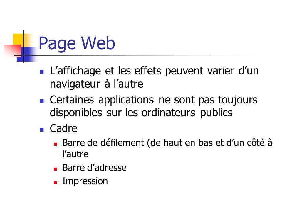 Page Web Laffichage et les effets peuvent varier dun navigateur à lautre Certaines applications ne sont pas toujours disponibles sur les ordinateurs publics Cadre Barre de défilement (de haut en bas et dun côté à lautre Barre dadresse Impression