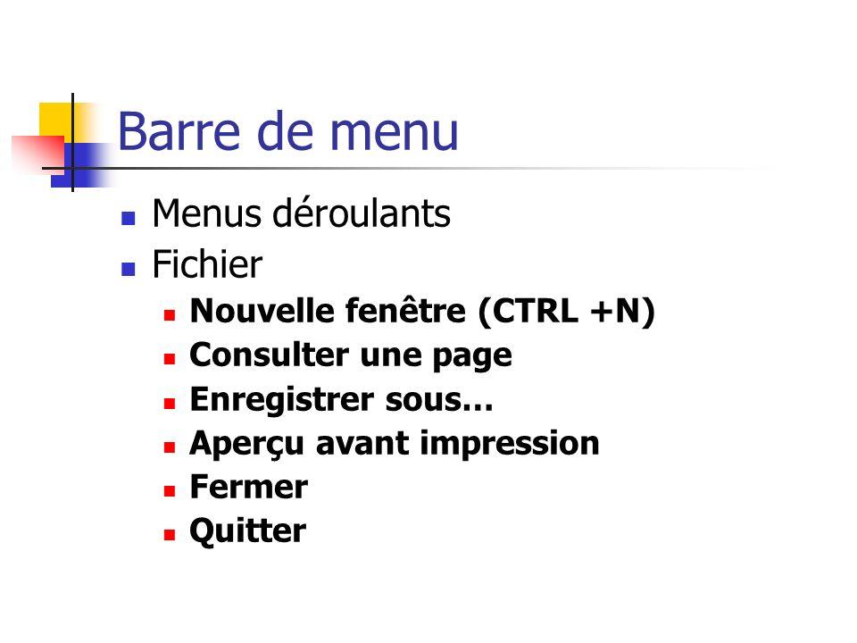 Barre de menu Menus déroulants Fichier Nouvelle fenêtre (CTRL +N) Consulter une page Enregistrer sous… Aperçu avant impression Fermer Quitter