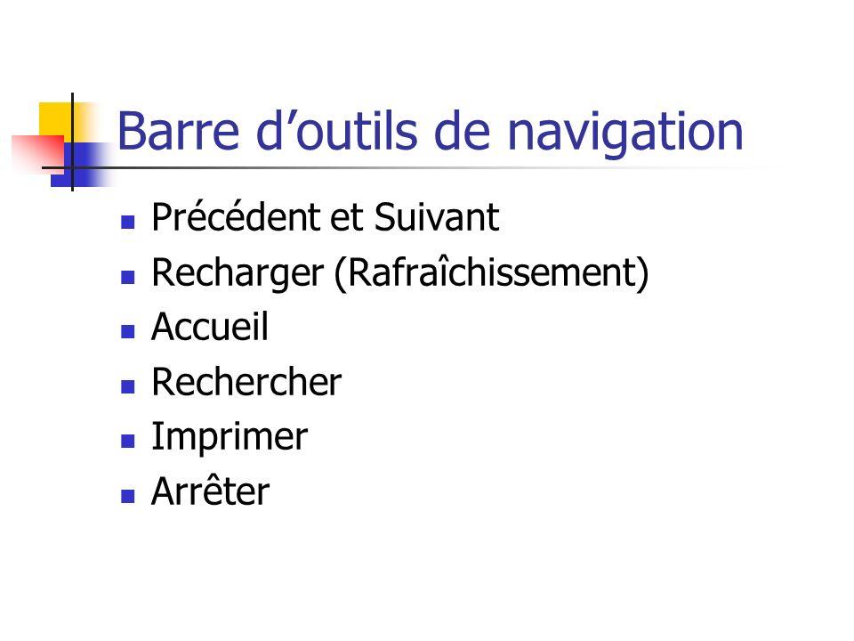 Barre doutils de navigation Précédent et Suivant Recharger (Rafraîchissement) Accueil Rechercher Imprimer Arrêter