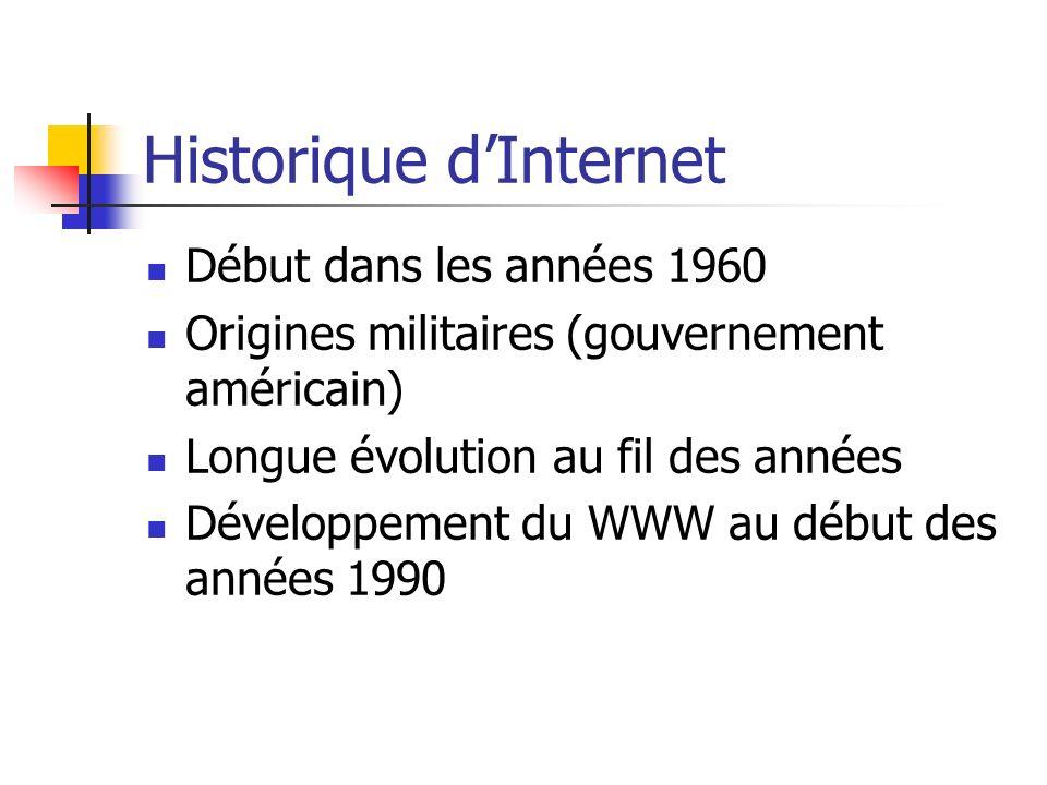 Historique dInternet Début dans les années 1960 Origines militaires (gouvernement américain) Longue évolution au fil des années Développement du WWW au début des années 1990
