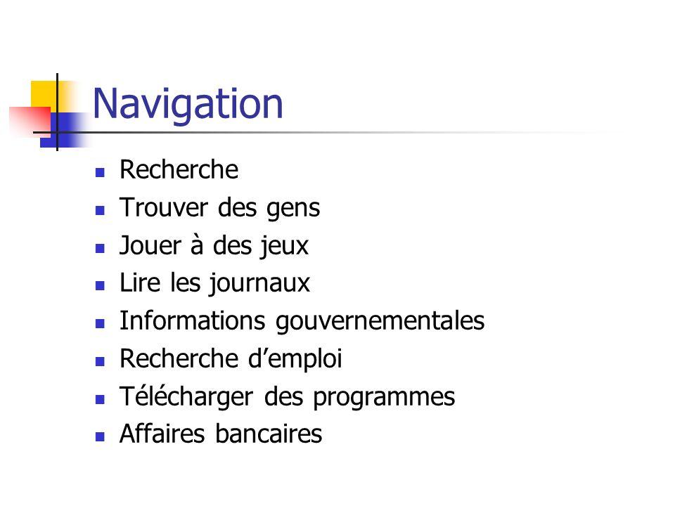 Navigation Recherche Trouver des gens Jouer à des jeux Lire les journaux Informations gouvernementales Recherche demploi Télécharger des programmes Affaires bancaires