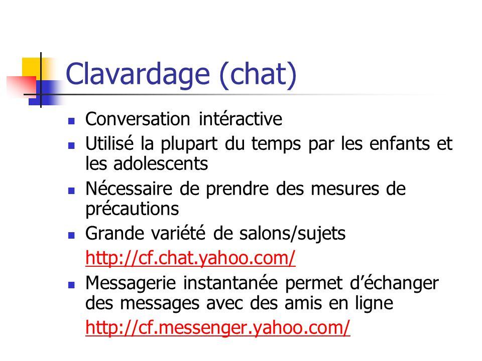 Clavardage (chat) Conversation intéractive Utilisé la plupart du temps par les enfants et les adolescents Nécessaire de prendre des mesures de précaut