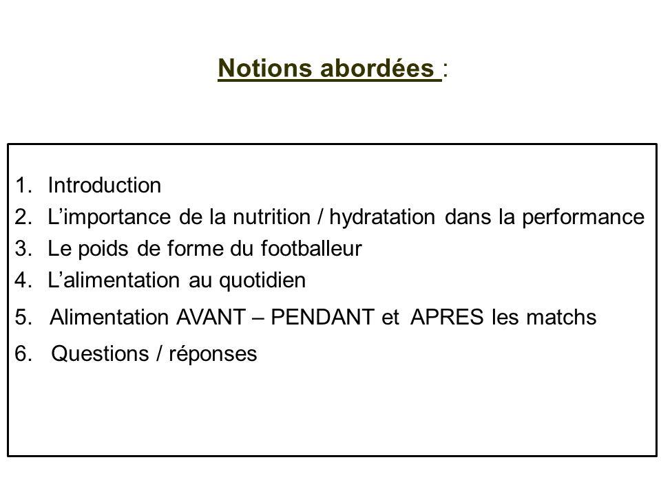 Notions abordées : 1.Introduction 2.Limportance de la nutrition / hydratation dans la performance 3.Le poids de forme du footballeur 4.Lalimentation a