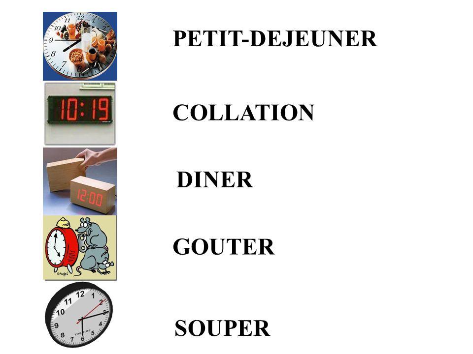 COLLATION PETIT-DEJEUNER SOUPER DINER GOUTER