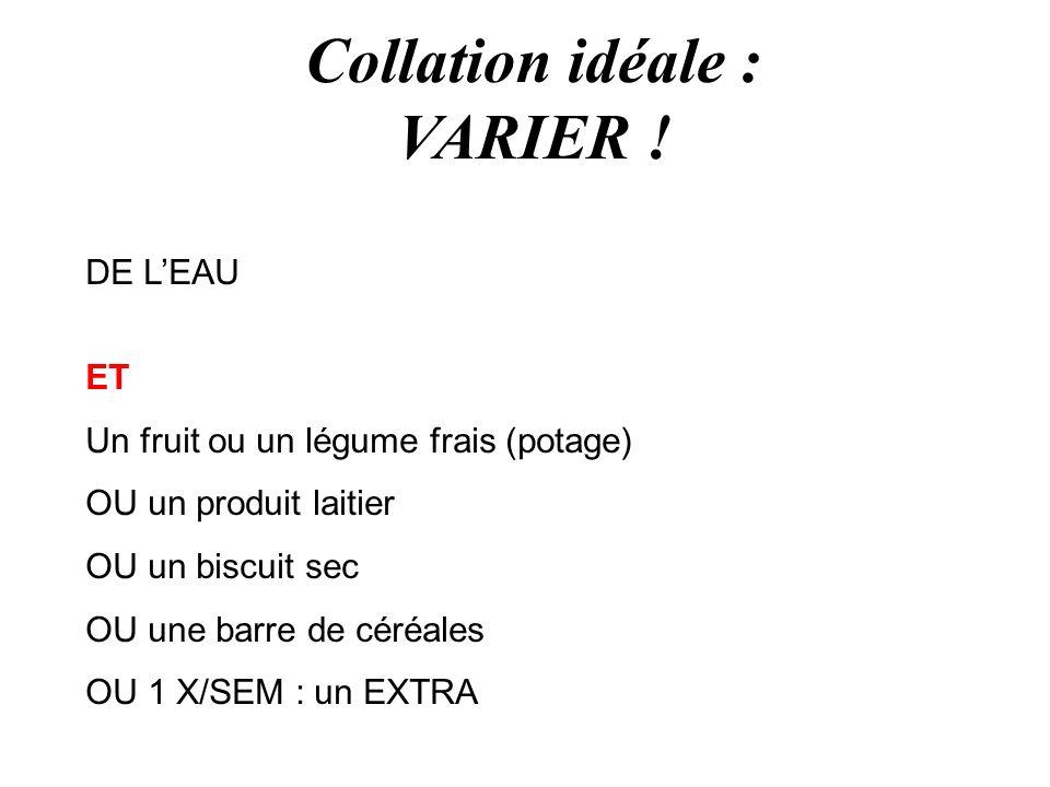 Collation idéale : VARIER ! DE LEAU ET Un fruit ou un légume frais (potage) OU un produit laitier OU un biscuit sec OU une barre de céréales OU 1 X/SE