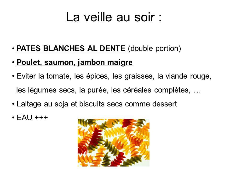 PATES BLANCHES AL DENTE (double portion) Poulet, saumon, jambon maigre Eviter la tomate, les épices, les graisses, la viande rouge, les légumes secs,