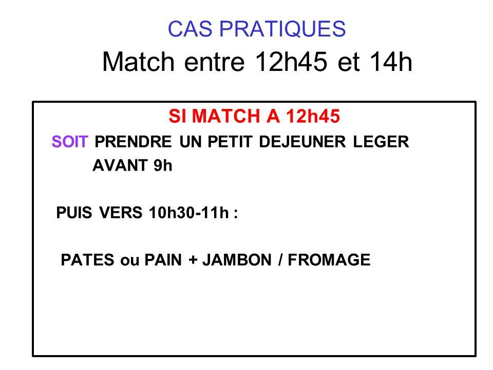 SI MATCH A 12h45 SOIT PRENDRE UN PETIT DEJEUNER LEGER AVANT 9h PUIS VERS 10h30-11h : PATES ou PAIN + JAMBON / FROMAGE CAS PRATIQUES Match entre 12h45