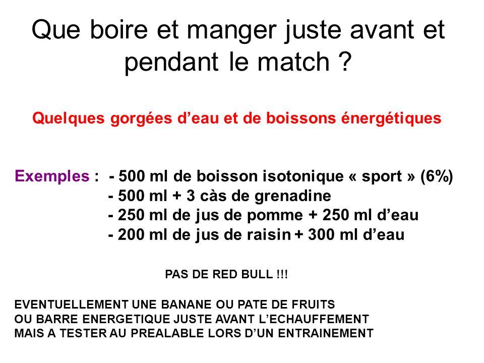 Que boire et manger juste avant et pendant le match ? Quelques gorgées deau et de boissons énergétiques Exemples : - 500 ml de boisson isotonique « sp