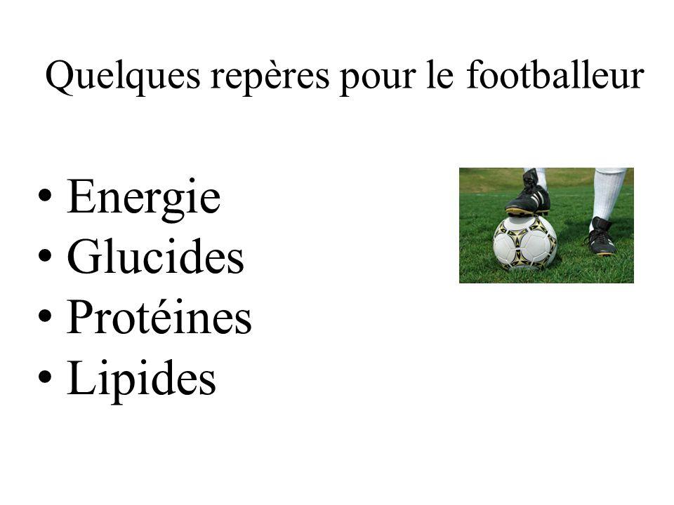 Quelques repères pour le footballeur Energie Glucides Protéines Lipides