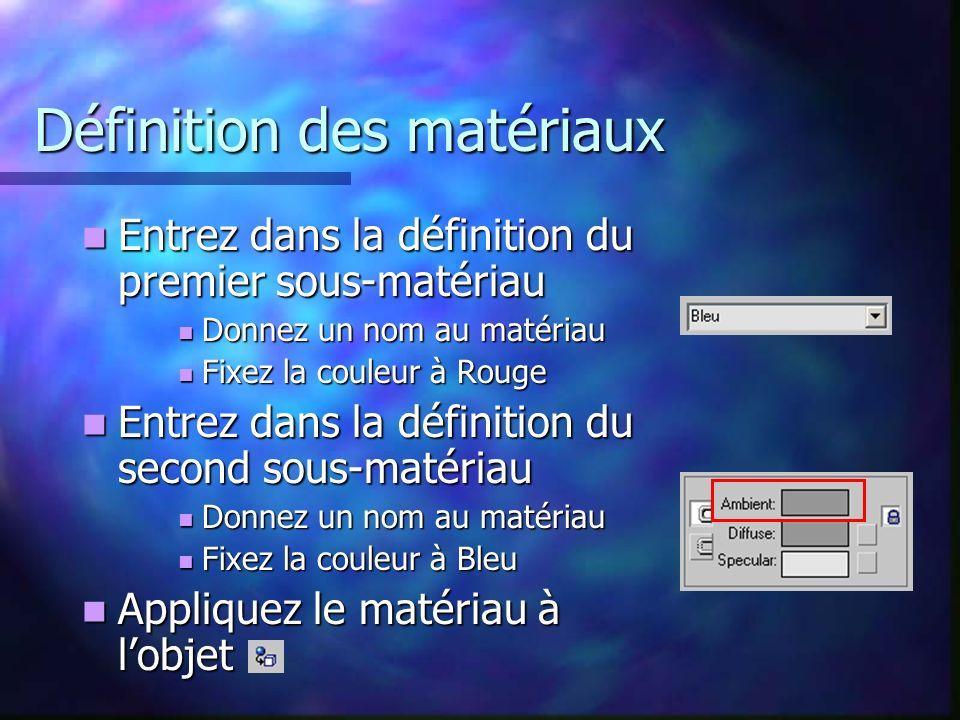 Définition des matériaux Entrez dans la définition du premier sous-matériau Entrez dans la définition du premier sous-matériau Donnez un nom au matériau Donnez un nom au matériau Fixez la couleur à Rouge Fixez la couleur à Rouge Entrez dans la définition du second sous-matériau Entrez dans la définition du second sous-matériau Donnez un nom au matériau Donnez un nom au matériau Fixez la couleur à Bleu Fixez la couleur à Bleu Appliquez le matériau à lobjet Appliquez le matériau à lobjet