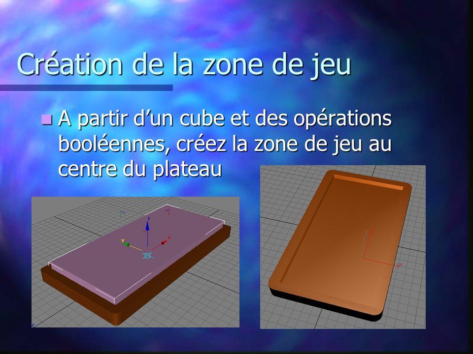 Création de la zone de jeu A partir dun cube et des opérations booléennes, créez la zone de jeu au centre du plateau A partir dun cube et des opérations booléennes, créez la zone de jeu au centre du plateau