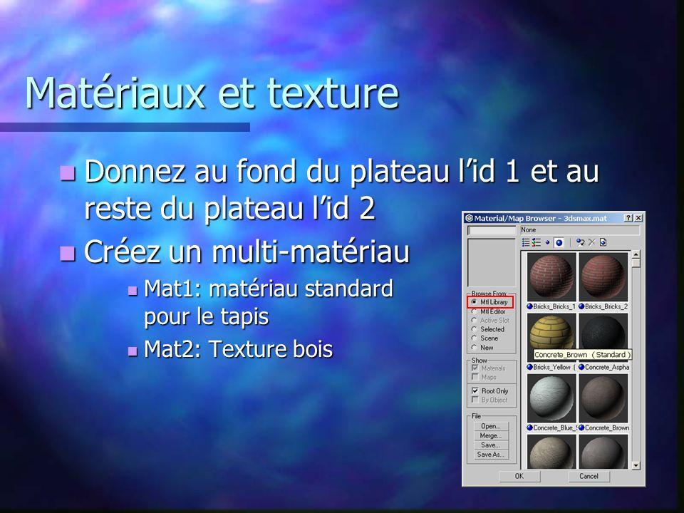Matériaux et texture Donnez au fond du plateau lid 1 et au reste du plateau lid 2 Donnez au fond du plateau lid 1 et au reste du plateau lid 2 Créez un multi-matériau Créez un multi-matériau Mat1: matériau standard pour le tapis Mat1: matériau standard pour le tapis Mat2: Texture bois Mat2: Texture bois