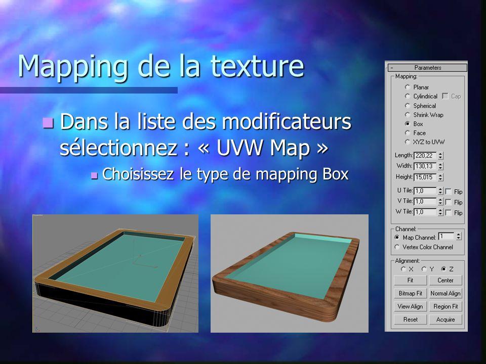 Mapping de la texture Dans la liste des modificateurs sélectionnez : « UVW Map » Dans la liste des modificateurs sélectionnez : « UVW Map » Choisissez le type de mapping Box Choisissez le type de mapping Box